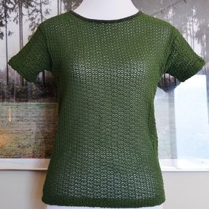 CLÁSSICO/BÁSSICO green woven stretch top SMALL